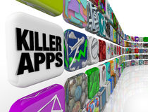 Killer Apps Store Applications Software Download. The words Killer Apps on an app tile in a wall of applications and software you can download into your smart Stock Photography