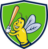 Killer Bee Baseball Player Batting Crest Cartoon Stock Photos
