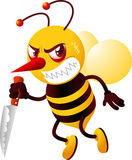 Killer bee holding knife with mad face. An angry and choleric killer bee, looking for a victim holding a knife with furious face  illustration Stock Photos