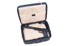 Killer case - handgun with silencer Royalty Free Stock Photos