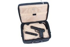 Killer case - handgun with silencer Royalty Free Stock Photography