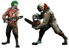 Killer clowns 3D illustration. Killer clowns about to attack 3D illustration Stock Photography