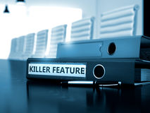 Killer Feature on Binder. Blurred Image. 3D. Killer Feature. Business Illustration on Blurred Background. Folder with Inscription Killer Feature on Office Desk Stock Photo