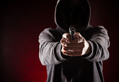 Killer with gun. Stock Photos