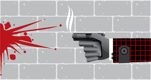 Killer hand with gun and bloodstain. Killer hand with smoking gun (pistol) and bloodstain on brick wall background Royalty Free Stock Photography