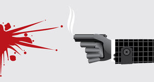 Killer hand with gun (pistol) and bloodstain. Killer hand with smoking gun (pistol) and bloodstain on gray background Royalty Free Stock Photo