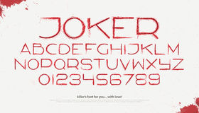 Killer joker. Set of blood style alphabet letters and numbers over white background. , assassin font type design. killer sloppy characters collection. horror Royalty Free Stock Photos