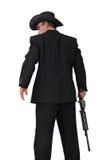 Killer mit einem Gewehrzurückschussfoto auf Weiß Stockbild