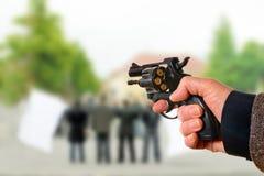 Killer. A killer points on the political meeting Royalty Free Stock Photos