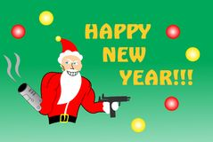 Killer Santa. A non conventional greeting card for the New Year holidays with a Santa with a cannon instead of his hand and an Uzi Stock Photography