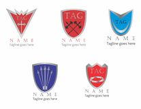 Shield template logo pack. A series of shield logos that can be used for companies that offer security services, internet or real life Royalty Free Stock Images