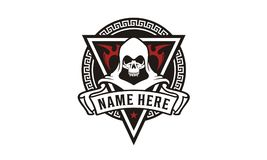 Killer Skull Badge for game or community logo design inspiration stock illustration