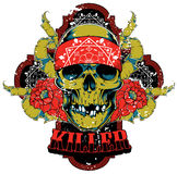 Killer skull. Vector illustration ideal for printing on apparel clothes Stock Photo