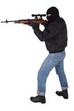 Killer with sniper rifle Stock Images