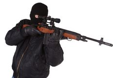 Killer with sniper rifle Royalty Free Stock Photo