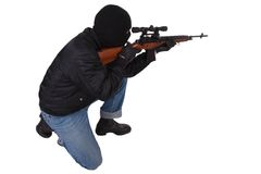 Killer with sniper rifle Royalty Free Stock Images