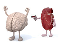 Killer steak vs brain. Steak with arms, legs and gun on hand vs brain, isoloated 3d illustration Royalty Free Stock Photography