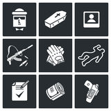Killer Vector Icons Set. Vector Isolated Flat Icons collection on a black background Stock Images