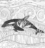 Killer whale with high details. Adult antistress coloring page with orca. Black white animal for art therapy. Abstract pattern with oceanic elements for relax Royalty Free Stock Photos