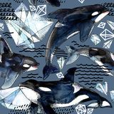 Killer whale seamless pattern. Watercolor arctic ice and ocean background Stock Image