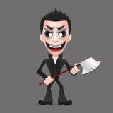 Killer wielding a axe. Maniac, a psychopath murderer wielding an axe dripping blood from it Stock Images