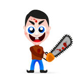 Killer wielding a chainsaw. Psycho Killer, of a psychopath killer wielding a chainsaw with blood dripping from it Stock Photography