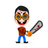 Killer wielding a chainsaw. Psycho Killer, of a psychopath killer wielding a chainsaw with blood dripping from it Royalty Free Stock Photography