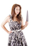 Killer woman in dress, with a knife Stock Images