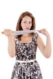 Killer woman in dress, with a knife Royalty Free Stock Images