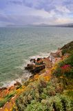 Killiney Bay. Cliffside walk overlooking Killiney Bay, Co.Dublin, Ireland with steps leading to waters edge Royalty Free Stock Images