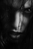 Killing beauty. BW portrait of the angry witch-woman with wet hairs Stock Photography