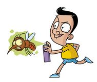 Killing the big mosquito with the insecticide spray. Cartoon illustration of a man killing the big mosquito with the insecticide spray royalty free illustration