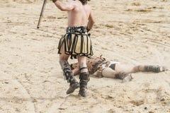 Killing, gladiatora bój w arenie Romański cyrk Zdjęcie Stock