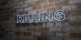 KILLING - Glowing Neon Sign on stonework wall - 3D rendered royalty free stock illustration Stock Images