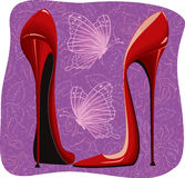 Killing high heels red shoes vector illustration