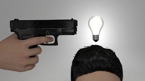 Killing an idea. By shooting the bulb over the head Royalty Free Stock Image