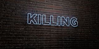 KILLING -Realistic Neon Sign on Brick Wall background - 3D rendered royalty free stock image. Can be used for online banner ads and direct mailers Royalty Free Stock Photo