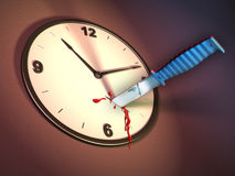 Killing time. A clock stabbed with a knife. Digital illustration Stock Images