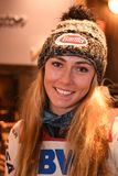 Mikaela Shiffrin answers questions from the media during a press conference after the Killington Cup royalty free stock image