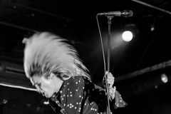 The Kills rock band perform in concert at Razzmatazz Club. BARCELONA - NOV 1: The Kills rock band perform in concert at Razzmatazz Club on November 1, 2016 in Royalty Free Stock Photos