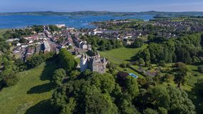 Killyleagh Castle and village. county Down, Northern Ireland stock images