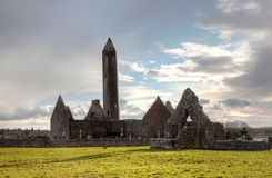 Kilmacduagh an ancient monastery in Burren Royalty Free Stock Images