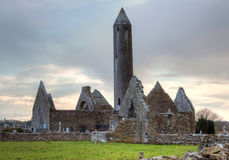 Kilmacduagh an ancient monastery in Burren Royalty Free Stock Photography