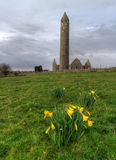 Kilmacduagh monastery in Burren Royalty Free Stock Photography
