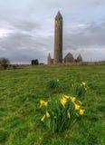 Kilmacduagh monastery in Burren. Area - Ireland Royalty Free Stock Photography