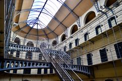 Kilmainham Gaol prison. Dublin, Ireland. The main hall of Kilmainham Gaol. It was an irish prison and renovated as a museum. One of the landmark of Dublin, the stock photo
