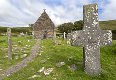 Kilmalkedar教会,幽谷半岛,爱尔兰 免版税图库摄影