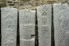 Kilmartin Medieval grave slabs in Scotland. Royalty Free Stock Photos