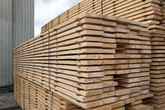 Kiln-Dried Timber. Stacked pine planks ar a timber yard Stock Image