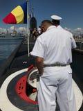 The Kilo-Class Submarine Delfinul. CONSTANTA, ROMANIA - AUGUST 11, 2018: Persons visiting the Romanian Naval Forces kilo-class submarine Delfinul, on the royalty free stock photography